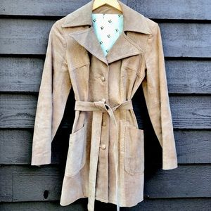 Vintage 1970's pigskin leather Jimmy Dean trench
